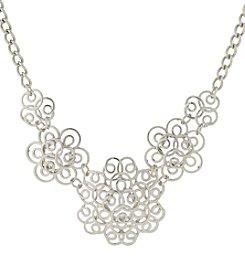1928® Jewelry Silvertone Filigree Statement Necklace