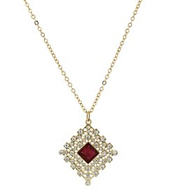 1928® Jewelry Goldtone Red and Crystal Accent Filigree Pendant Necklace