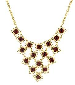 1928® Jewelry Goldtone Red Bib Statement Necklace