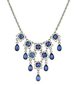 1928® Jewelry Silvertone Blue Bib Necklace
