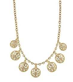 1928® Jewelry Goldtone Round Open Lattice Necklace