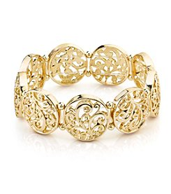 1928® Jewelry Goldtone Filigree Stretch Bracelet