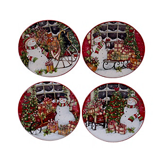 Certified International Snowman's Sleigh by Susan Winget Set