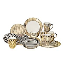Certified International Pleated Metallic Dinner Collection
