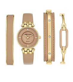 Anne Klein® Dark Tan and Goldtone Diamond Dial Watch Set
