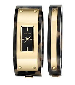 Anne Klein® Goldtone and Tortoise Bangle Set