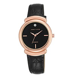 Anne Klein® Diamond Dial Leather Strap Watch