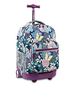 J World® Sunrise Secret Garden Rolling Backpack
