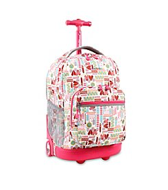 J World® Sunrise Heart Factory Rolling Backpack