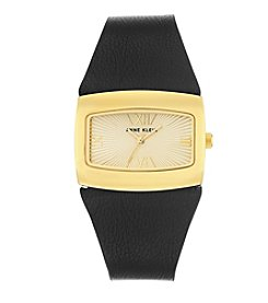 Anne Klein®Studio Goldtone Black Leather Strap Watch