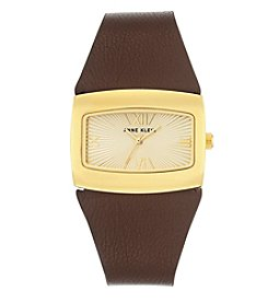 Anne Klein®Studio Goldtone Brown Leather Strap Watch