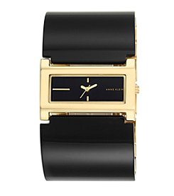 Anne Klein®Studio Goldtone and Black Plastic Cuff Watch