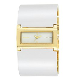 Anne Klein®Studio Goldtone and White Plastic Cuff Watch