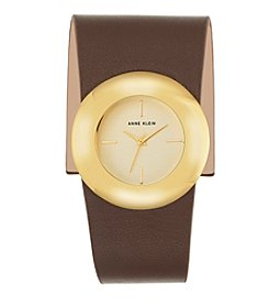 Anne Klein®Studio Goldtone Genuine Leather Wrap Watch