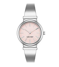 Nine West® Silvertone And Blush Bangle Watch