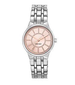 Nine West® Silvertone Bracelet with Glitzy Light Blush Dial
