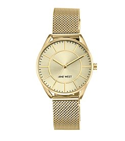 Nine West® Goldtone Mesh Bracelet Watch