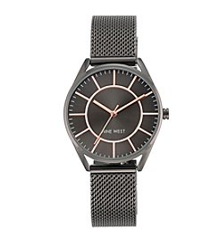 Nine West® Dark Grey Mesh Bracelet Watch