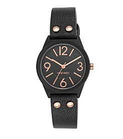 Nine West® Black Rubberized Strap Watch