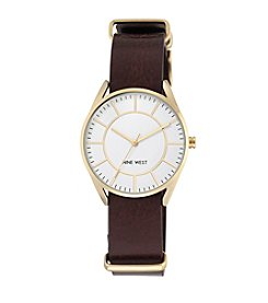 Nine West® Goldtone and Brown Strap Watch