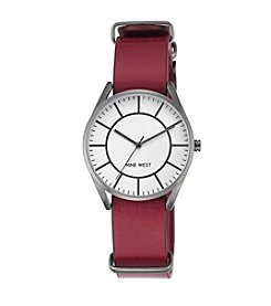 Nine West® Dark Grey and Burgundy Leather Strap Watch