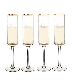 Cathy's Concepts Personalized Set of Four Gold Rim Contemporary Champagne Flutes