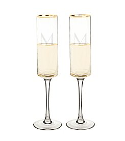 Cathy's Concepts Set of 2 Personalized Gold Rim Contemporary Champagne Flutes