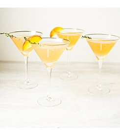Cathy's Concepts Personalized Set of Four Gold Rim Martini Glasses