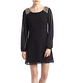My Michelle® Sequin Shoulder Shift Dress