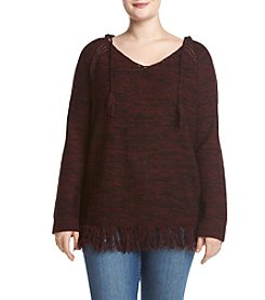 Hippie Laundry Plus Size Hooded Fringe Sweater