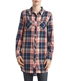 Hippie Laundry Plaid Tunic Shirt