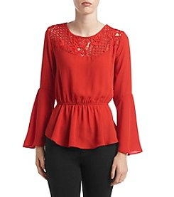 XOXO® Lace Yoke Peasant Top