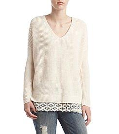 no comment™ Crochet Trim Shaker Sweater