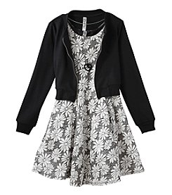 Beautees Girls' 7-16 Allover Floral Dress and Moto Jacket