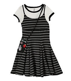 Beautees Girls' 7-16 Striped Jumper and Short Sleeve Tee