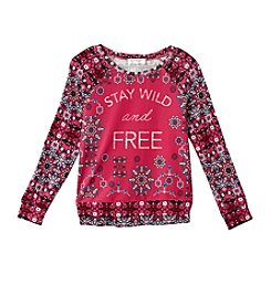 Jessica Simpson Girls' 7-16 Wild And Free Long Sleeve Sweater