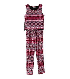 Jessica Simpson Girls' 7-16 Printed Jumpsuit