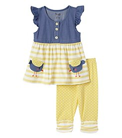 Nannette® Girls' 2T-6X 2-Piece Ruffled Top With Striped Leggings Set