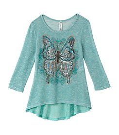 Miss Attitude Girls' 7-16 Butterfly Long Sleeve Top