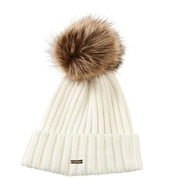 Calvin Klein Ribbed Beanie With Faux Fur Pom