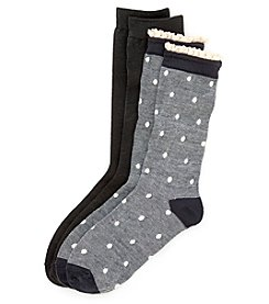 Legale® 2 Pair Lace Edge Oxford Dot Boyfriend Socks