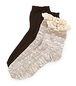 Legale® 2-Pack Lace Edge Anklet Socks