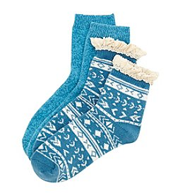 Legale® 2-Pair Lace Edge Soft Crew Socks