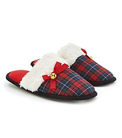 Collection 18 Jingle Bells Tartain Plaid Slide On Slippers
