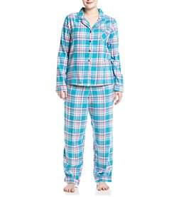 Intimate Essentials® Plus Size Flannel Notch Collar Pajama Set