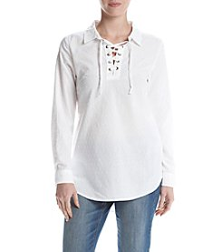 Ruff Hewn Lace Up Swiss Dot Shirt