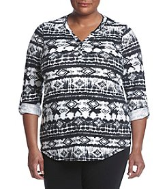 Relativity® Plus Size Printed Henley Shirt