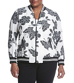 Relativity® Plus Size Butterfly Print Bomber Jacket