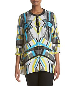 Relativity® Plus Size Printed High Low Henley