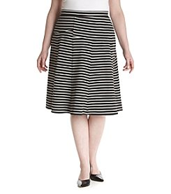 Relativity® Plus Size A-Line Pieced Stripe Skirt